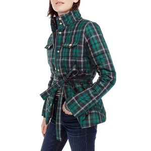 J. Crew | Tartan Plaid Puffer Velvet Jacket Coat